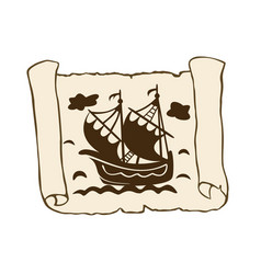 sketch of ancient scroll with ship isolated on vector image