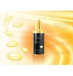 Skin serum toner template glass bottle vector image