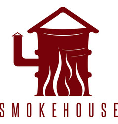 Smokehouse concept with barrel and flame vector