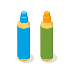 Spray in plastic bottles cosmetic product icon vector