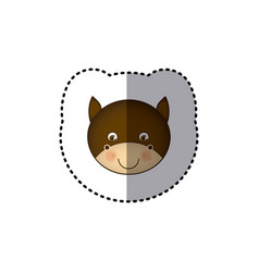 Sticker colorful picture face cute bull animal vector