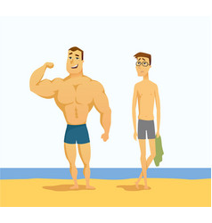 Strong and weak men - cartoon people character vector