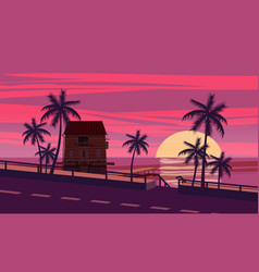 sunset ocean evening palm trees sea shore vector image