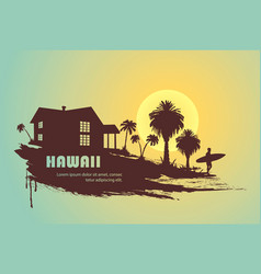 Surfer with palm trees vector
