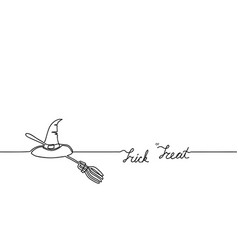 tick or treat broom witch s hat happy halloween vector image