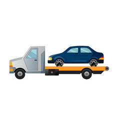 tow truck cool flat towing truck with broken car vector image