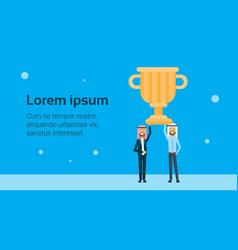 two arab businessman leader hold prize gold winner vector image
