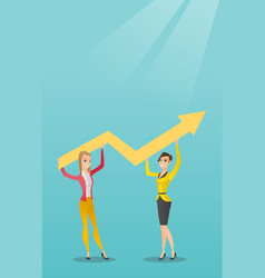 Two business women holding growth graph vector