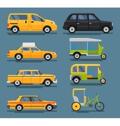 Various city urban traffic vehicles icons vector