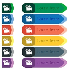 video camera icon sign Set of colorful bright long vector image