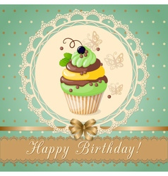 Vintage birthday card with cupcake on the napkin vector