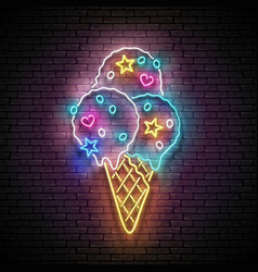 Vintage glow signboard with ice cream balls in vector