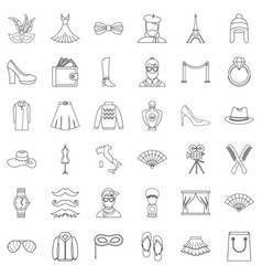 Vogue icons set outline style vector