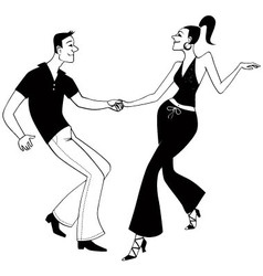 West Coast Swing dancers clip art vector image