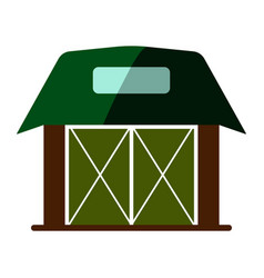 Wooden flat barn house icon vector