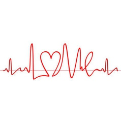 Word love shape electrocardiogram on white backgro vector