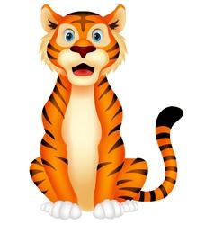 Cute tiger cartoon sitting vector