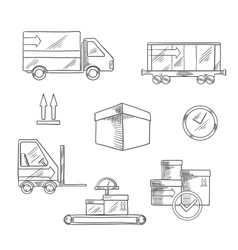 Delivery shipping and logistics icons vector image