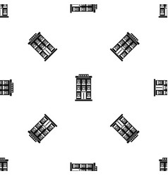hotel building pattern seamless black vector image vector image