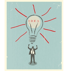 of idea bulb retro poster vector image vector image