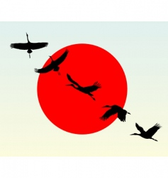 silhouettes of flying cranes vector image vector image