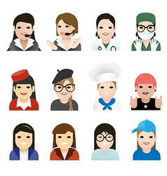 user woman jobs icons vector image vector image