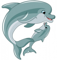 dolphin mother and baby vector image