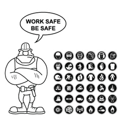 Health and Safety and hazard Icon collection vector image
