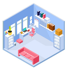 isometric home office interior vector image vector image
