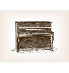 Piano hand drawn sketch style vector image