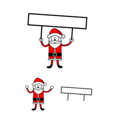santa claus holding editable blank sign vector image