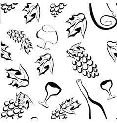 seamless pattern with grapes in black and white - vector image