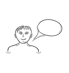 sketch of the girl and speak bubble vector image