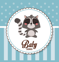 baby shower card invitation cute raccoon vector image vector image