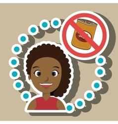 Cartoon child girl fast food danger symbol vector