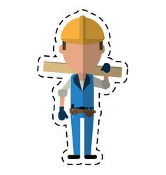 cartoon man construction wooden board and tool vector image