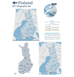 Finland maps with markers vector image