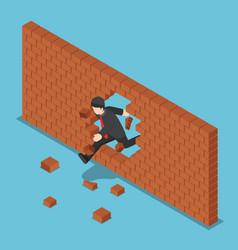 Isometric businessman breaking through brick wall vector