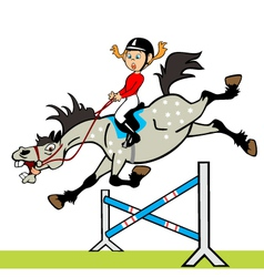 little girl with horse jumping a hurdle vector image vector image