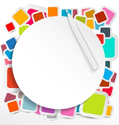 Paper Circle on Colorful Square Stickers vector image vector image