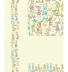 People on the street seamless pattern background vector image