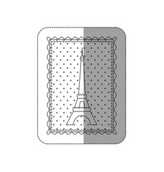 sticker contour frame of eiffel tower with vector image