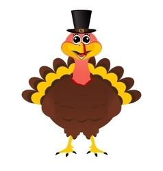 Turkey Pilgrimin hat on Thanksgiving Day vector image