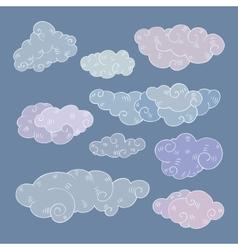 Vintage clouds set vector image vector image
