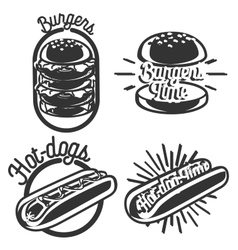 Vintage fast food emblems vector image