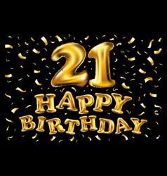 21th happy birthday anniversary greeting card vector image