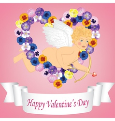 angel ribbon and flower heart vector image