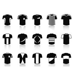 black t-shirt soccer clothing icons set vector image vector image