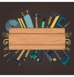 Carpentry woodworks background vector image