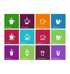 Coffee cup and Tea mug icons on color background vector image
